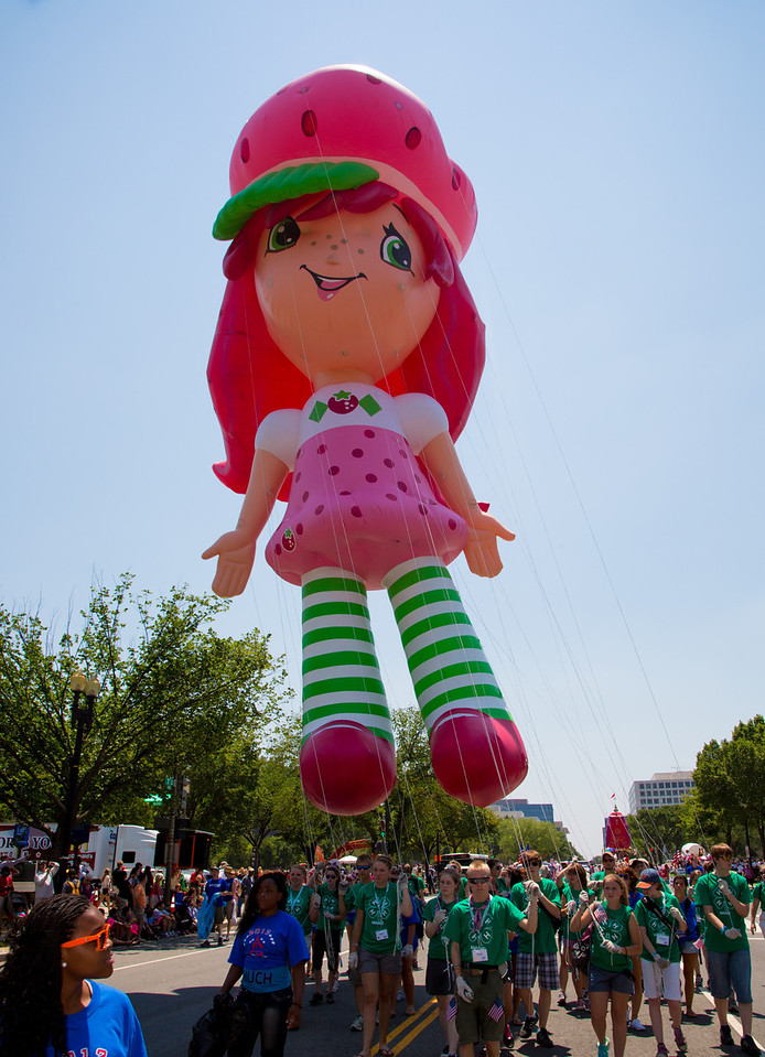 Strawberry Shortcake soars high above the Independence Day Parade, July 4, 2012.