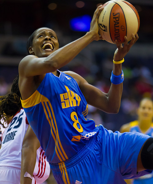 US Olympian Swin Cash of the Chicago Sky goes up for a basket. The Washington Mystics achieved a much needed 75-71  win over the Sky in an overtime thriller at the Verizon Center on August 19, 2012.