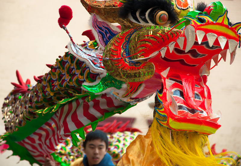 The Chinese-American community celebrated the Year of the Dragon with a parade that attracted thousands to the Chinatown neighborhood of Washington DC. The celebration, which took place on Sunday, January 29, 2012, included a dragon dance, a lion dance, kung fu demonstrations and the lighting of a giant firecracker.