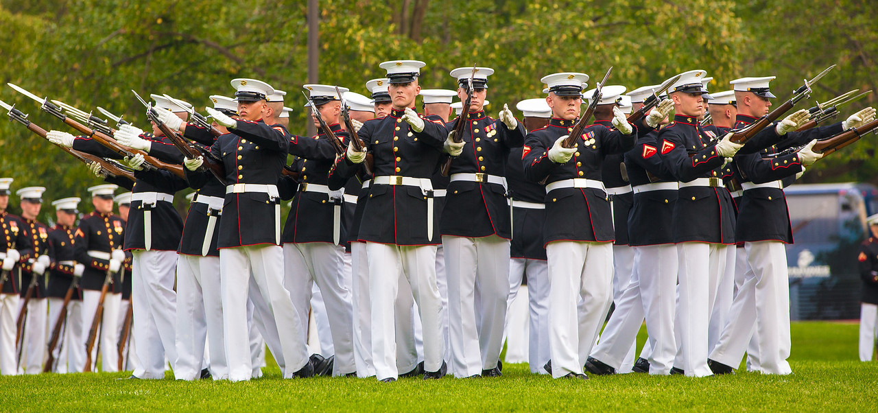 """The Sunset Parade features the music of """"The Commandant's Own"""", The United States Marine Drum and Bugle Corps and precision drill by the Marine Corps Silent Drill Platoon (on August 7, 2012)"""