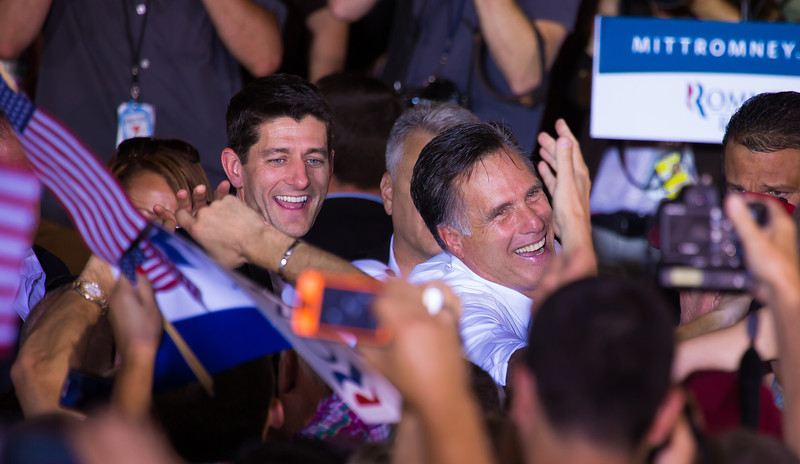 An overflow crowd of supporters attended a GOP rally at the Harris Pavilion in Manassas, Virginia on Saturday afternoon, August 11 2012. , Earlier that morning, Romney had introduced Paul Ryan as his running mate.