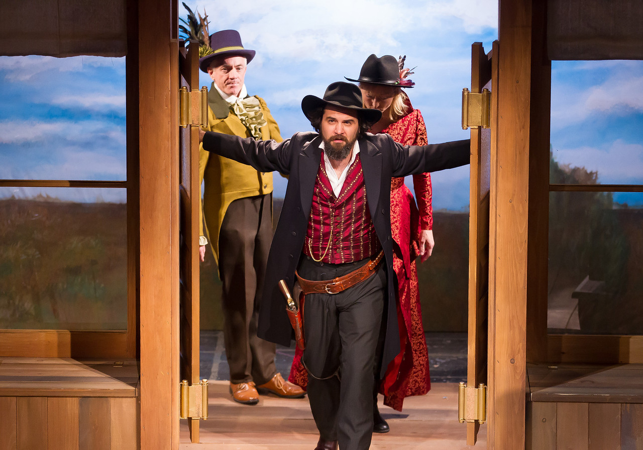 "The Folger Theatre's current production of William Shakespeare's classic, ""The Taming Of The Shrew"" is set in the American Wild West and plays through June 10, 2012. In photo Cody Nickell, Danny Scheie, and Kate Eastwood Norris."
