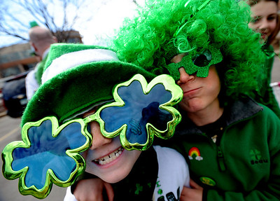 Luke Regnier, 8, and Beau Evens, 9, are all about St. Patrick's Day before the parade. The annual  Conor  O'Neill's St. Patrick's Day Parade was held downtown along 13th Street in Boulder.   Cliff Grassmick / March 15, 2009