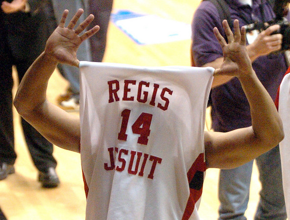 """Regis Jesuit""  wins State! The shirt of RJ Demps.<br /> Cliff Grassmick / March 14, 2009"