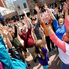 Ellen Brown, bottom right, leads a group in a laughter therapy exercise.<br /> Sunday, May 3, 2099 was World Laughing Day. About 20 people celebrated the occasion on the Pearl Street Mall.<br /> Cliff Grassmick / May 3, 2009