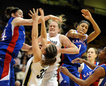 Kara Richards of CU battles against Kansas. Cliff Grassmick / February 18, 2009