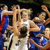 Kara Richards of CU battles against Kansas.<br /> Cliff Grassmick / February 18, 2009