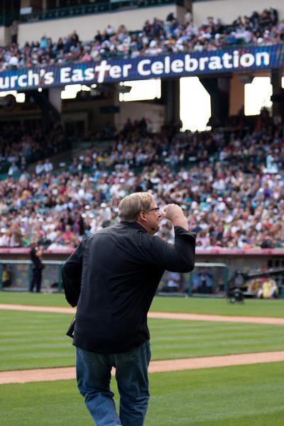 Rick Warren at Saddleback's Easter Service at Anaheim Stadium