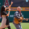 Kari Jobe and Rick Muchow at Saddleback's Easter Service at Anaheim Stadium