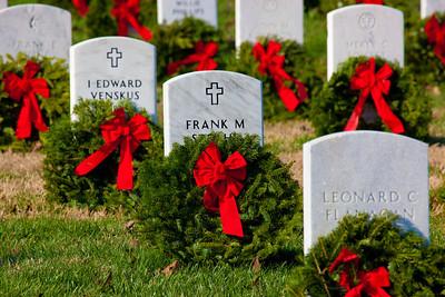 Wreaths Across America volunteers laid over 90,000 wreaths on Saturday, December 10, 2011 to honor veterans buried at Arlington National Cemetery.