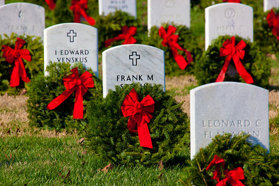 Wreaths Across America volunteers laid over 90,000 wreaths on Saturday, December 10, 2011 to honor veterans buried at Arlington National Cemetery.