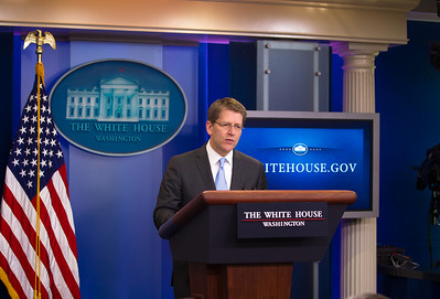 Jay Carney conducts his White House briefing on April 25, 2011.