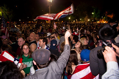 Spontaneous crowd assembles at midnight in front of the White House on May 1 on the news of Osama Bin Laden's death