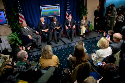 "Rep. Steve King (R-IA), Senator Orrin Hatch (R-UT), Rep. Allen West (R-FL), Senator Mike Lee (R-UT) and Rep. Michele Bachmann (R-MN) speak to conservative activists in what organizers called the ""first Tea Party town hall"" on Tuesday, February 8, 2011 at the National Press Club in Washington DC. The event was sponsored by Tea Party Express and Tea Party HD."