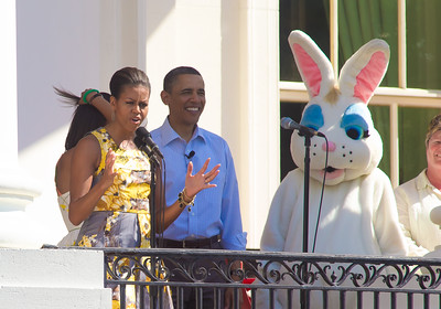"President Barack Obama and First Lady Michelle Obama stand with the Easter Bunny to welcome children and their families to the South Lawn of the White House for the 2011 White House Easter Egg Roll on April 25, 2011. The First Family hosted 30,000 people from all 50 states in Washington DC. The theme of this year's egg roll is ""Get Up and Go,"" tied into first lady Michelle Obama's anti-obesity initiative to raise a healthier generation of kids."