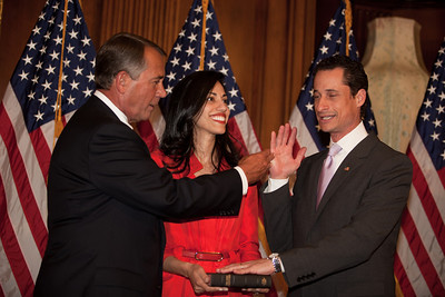 Congressman Anthony Weiner came under fire from members of both parties for a series of sexual indiscretions. The photo shows him ceremonially sworn into the 112th Congress by Speaker John Boehner (R-OH) back on January 5, 2011, with his wife Huma Abedin.