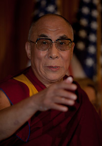 The Dalai Lama makes remarks on Capitol Hill in Washington DC, July 7, 2011, as he is warmly welcomed by House Speaker John Boehner (R-OH), and House Minority Leader Nancy Pelosi (D-CA). The Dalai Lama is in Washington to take part in an ancient Buddhist ritual and a call for world peace.