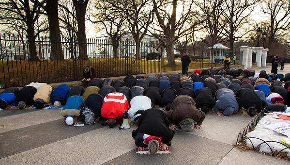 Demonstrators demanding that Egyptian President Hosni Mubarak vacate his office pause for Friday afternoon prayers in front of the White House prior to a planned march to Capitol Hill in Washington DC on Friday, February 4, 2011. Mubarak has been head of government in Egypt for 30 years. In recent days, thousands of Egyptians have poured into the streets of several cities to call for a change in government. Daily prayer is one of the five pillars of Islam and Friday's afternoon prayer has special significance because it is the week's lone communal prayer.
