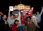 The announcement of the death of Osama Bin Laden sparked a spontaneous celebration at the north gate of the White House (in background in photo), waving flags with chants of USA USA and the  ...