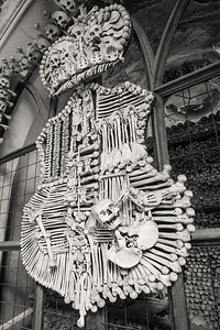 Coat of arms made with bones, Bone Church, Kutna Hora
