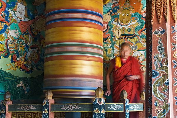 #Bhu 1156 Turning the Prayer Wheel, Trongsa Dzong, Bhutan