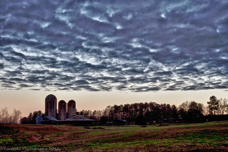 sky over the Morgan Dairy Silos