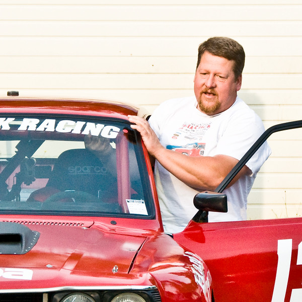 Geting in to my race car at Jim Harp's hot rod night