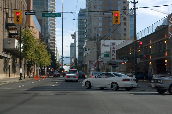 Driving through downtown Caprica (the new Battlestar Galactica series is filmed in and around Vancouver). Pete, is that a REAL Type R?