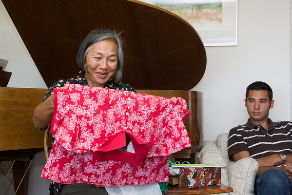 Lynne opens her birthday gifts