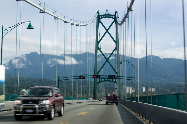 Opposing traffic gets two lanes as we cross the bridge