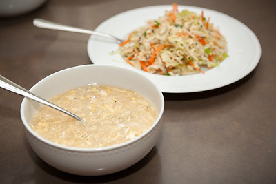 Today's lunch features Vietnamese asparagus-crab soup and Hawaiian-style ramen cabbage salad
