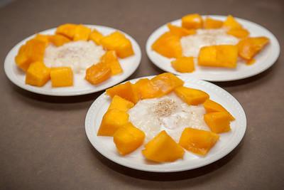 Dessert is Thai mango with sticky rice