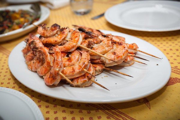 Pete also grilled shrimp...garlicky goodness on a stick!