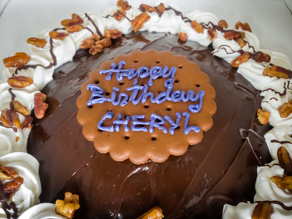 In the morning, I pick up a mud pie for Cheryl's birthday...