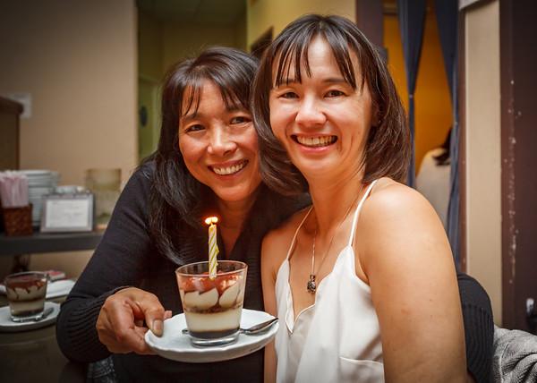 Jane and Valerie with birthday tiramisu