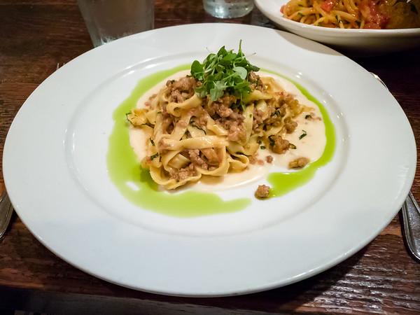 I order the Tagliatelle Bolognese - ribbon pasta, hand ground chuck and pork shoulder, white wine, pureed tomatoes, parmesan fonduta, fresh basil