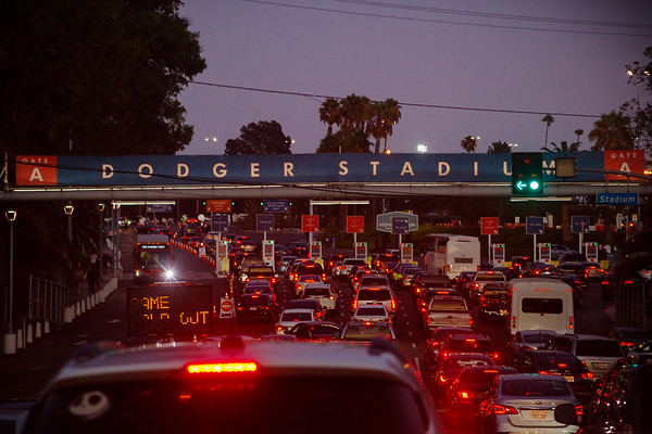 In eight minutes it will be time for Dodger Baseball...but we'll still be stuck in traffic entering the stadium