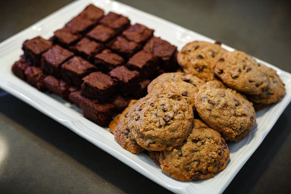 For tonight's party, Valerie baked chocolate chip cookies and brownies