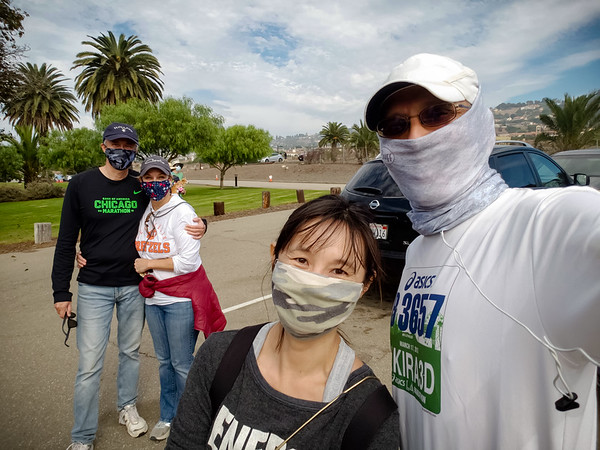 Valerie and I pose for a socially distanced selfie with Jim and Pauletta.  They came out to help Valerie clean up the area around Terranea...which is where I finished today's run