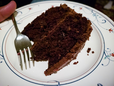 And my birthday wouldn't be the same without mom's chocolate cake...another of my all time favorite desserts (and she was very adamant that I have a slice tonight)