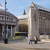 Central Library and the newer wing of the Town Hall.  Taken from a traffic island at the end of Oxford Road.