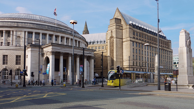 Central Library and the newer wing of the Town Hall.  Taken from the corner of Oxford Road.