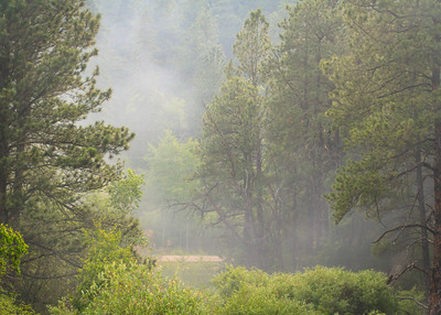 Smoke fills the hills as the 1880 train makes its way to Hill City.