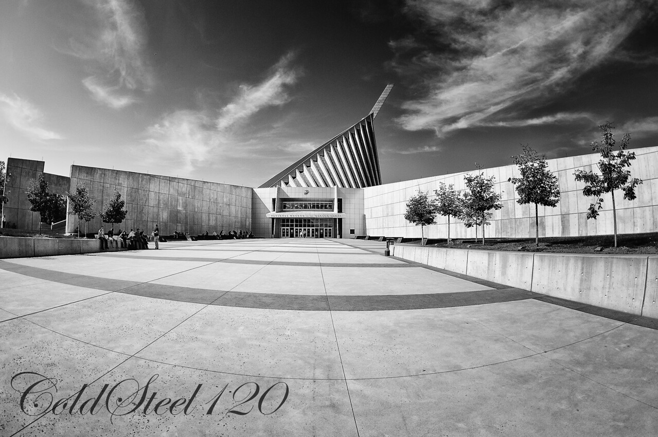 This picture was captured at the entrance to the National Museum of the Marine Corps. I was using my Nikon D90 and a rented Nikon 10.5mm Fisheye lens.