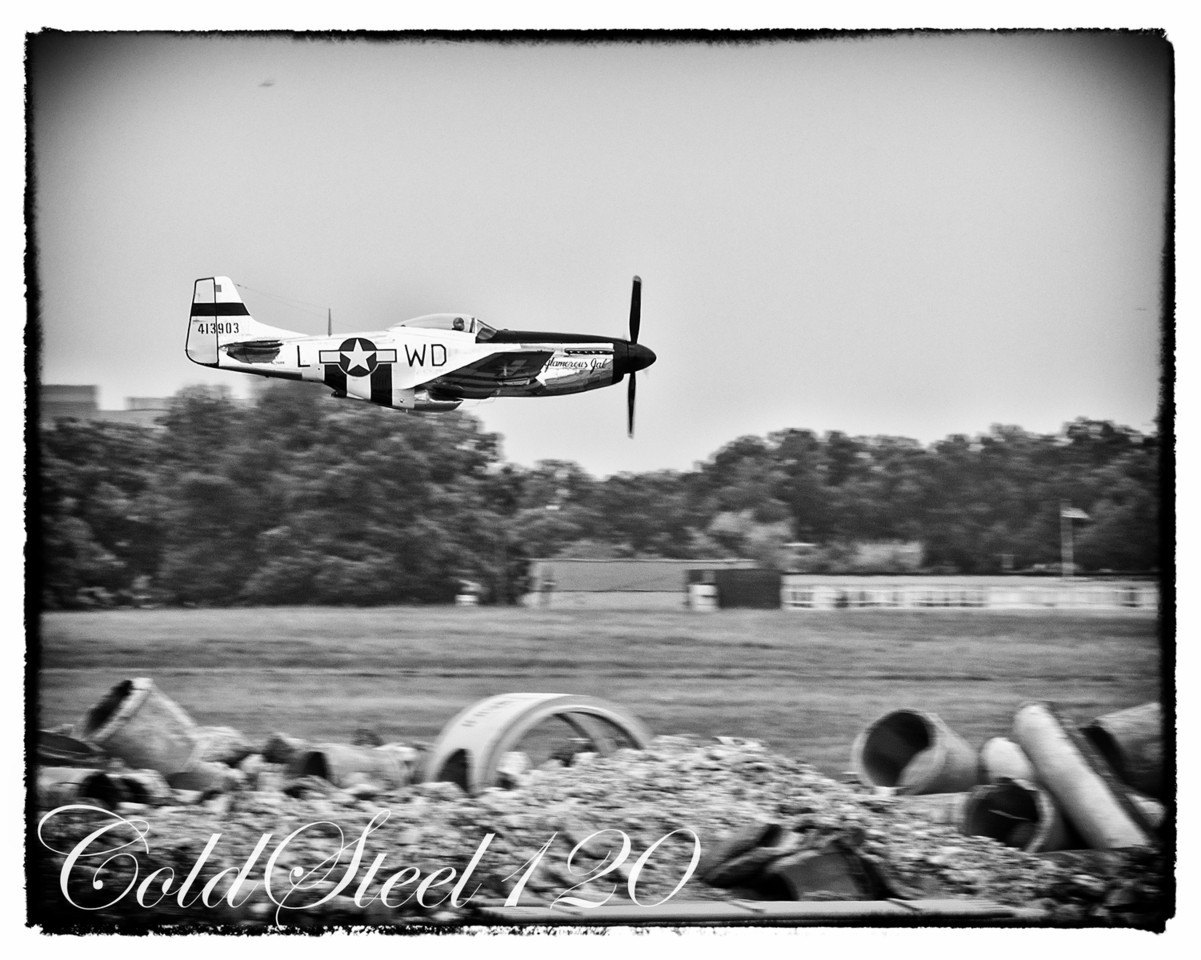 P-51 Mustang flying at Joint Base Andrews.