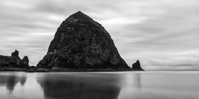 Haystack Rock Black & White Long Exposure