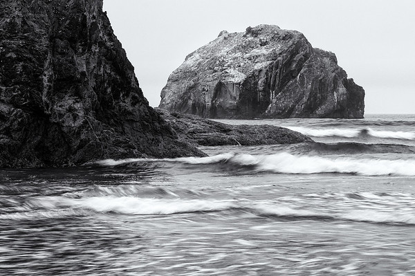 Face Rock at Bandon Beach B&W