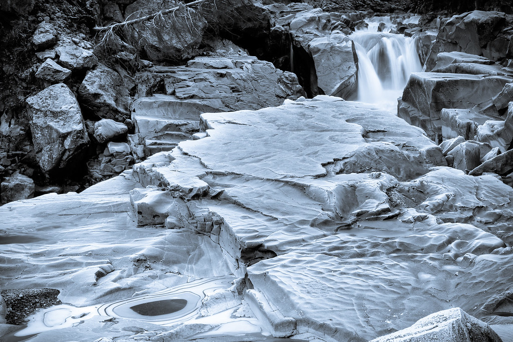 Frosty Granite Falls Black & White