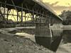 Reservoir walking bridge during severe drought