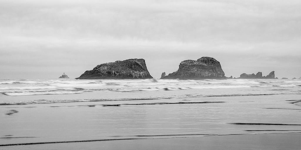 Cannon Beach Sea Stacks Black and White